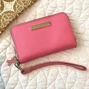 Vince Camuto Pink Leather Breast Cancer Wristlet